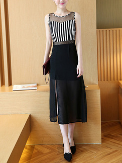 Black and White Slim Contrast Linking See-Through Stripe Over-Hip Furcal Dress for Casual Party Evening