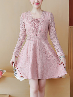 Pink Plus Size Slim A-Line Lace Decorative String Above Knee Long Sleeve Dress for Casual Party Evening