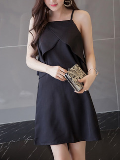 Black Off-Shoulder Ruffle Zipper Back Strap Above Knee Slip Dress for Casual Party Evening