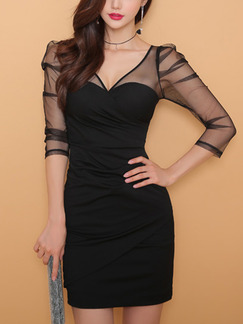 Black Slim V Neck Over-Hip Linking See-Through Dress for Party Evening Semi Formal Cocktail