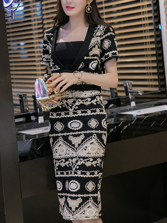 Black and White Three-Piece Printed V Neck Over-Hip Tube Top Dress for Casual Party Office Evening