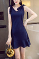 Blue Slim V Neck Fishtail Strap Butterfly Knot Zipper Back Dress for Casual Party Evening