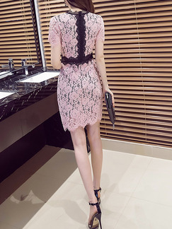 Pink and Black Slim Contrast Linking Lace Over-Hip Above Knee Dress for Party Evening Semi Formal Cocktail
