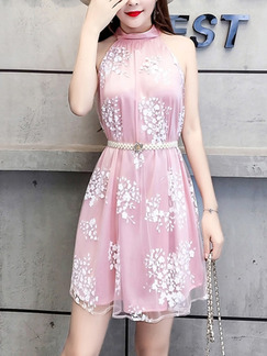Pink Slim Contrast Linking Hang Neck Band Belt Mesh Printed Cute Halter Dress for Casual Party Evening