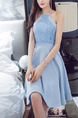 Blue Slim Hang Neck Full Skirt Linking Lace Halter Dress for Casual Party Evening