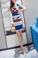 Colorful Slim Contrast Stripe V Neck Over-Hip Sheath Above Knee Dress for Casual Office Party