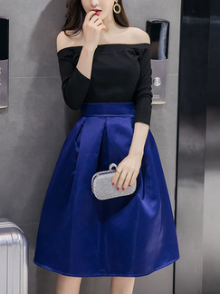 Blue and Black Two-Piece Boat Neck Full Skirt High Waist Off Shoulder Dress for Casual Party Evening
