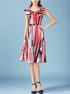 Red Colorful Loose Lapel Printed Knee Length Dress for Casual Office Party