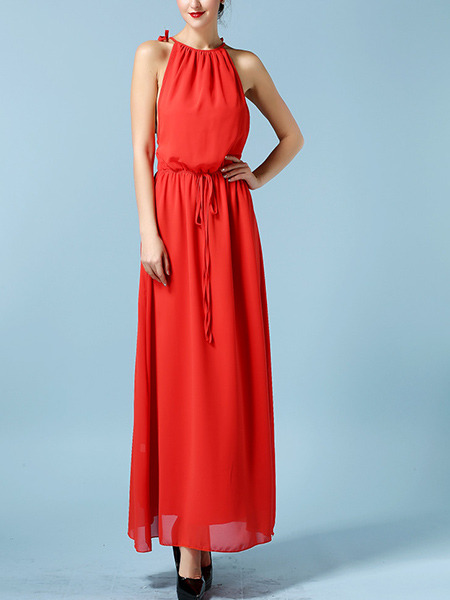 Red Hang Neck Double Lacing Drawstring Band Maxi Dress for Cocktail Prom Bridesmaid