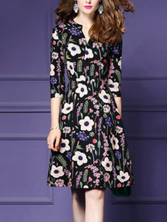Black Colorful Plus Size Printed A-Line High Waist Semi-Open Collar Dress for Casual Party Office