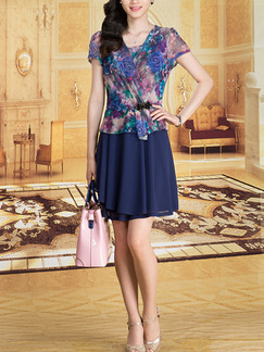 Blue Colorful Slim Plus Size Seem-Two A-Line Printed V Neck Floral Above Knee Dress for Casual Party Office