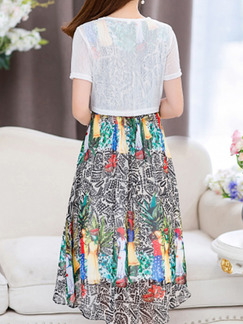 Colorful Chiffon Slim Plus Size Two-Piece Printed Dress for Casual Party