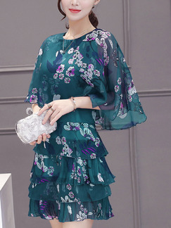 Green White and Violet Slim Plus Size Printed Ruffled Round Neck Chiffon Cloak Cupcake Dress for Casual Party Evening