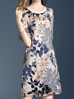 Beige and Blue Plus Size Loose A-Line Printed Round Neck Flare Sleeve  See-Through Burnt-Out Dress for Casual Party