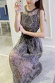 Grey Two-Piece Snakeskin Round Neck See-Through Hem Dress for Casual Party