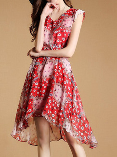 Red Plus Size Printed V Neck Asymmetrical Hem Floral Dress for Casual Party