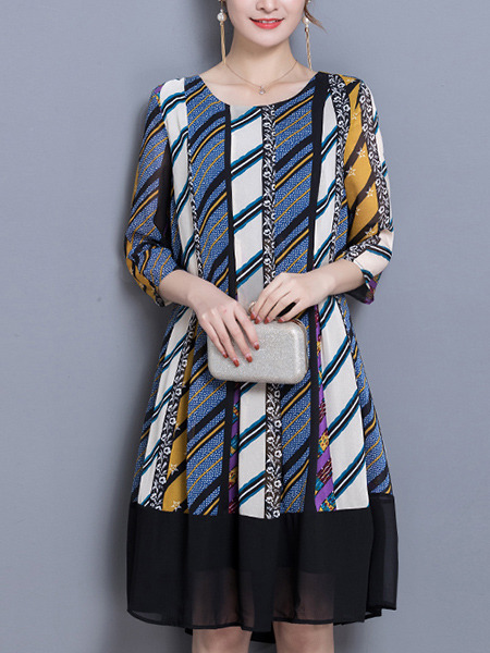 Colorful Plus Size Loose Stripe Printed Round Neck Dress for Casual Office