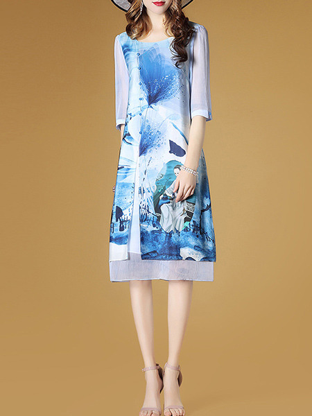 White and Blue Plus Size Loose Printed Round Neck Buttons See-Through Sleeve Dress for Casual Party