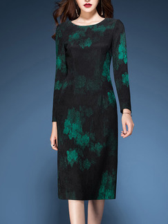 Black and Green Slim A-Line Contrast Printed Round Neck Long Sleeve Dress for Casual Office Evening