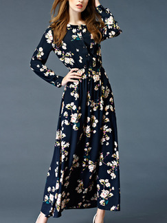 Blue Slim A-Line Printed Round Neck Adjustable Waist Long Sleeve Dress for Casual