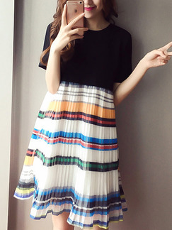Black Colorful Loose Seem-Two Round Neck Linking Stripe  Dress for Casual Party