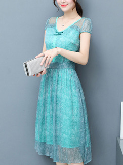 Blue Green Slim A-Line Printed V Neck Chinese Button  Dress for Casual Party Evening