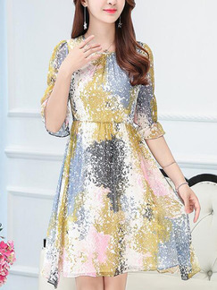 Colorful Slim A-Line Contrast Printed Round Neck Adjustable Sleeve Dress for Casual Party