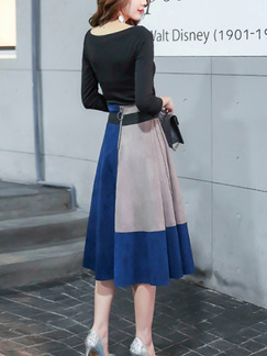 Blue Black and Grey Two-Piece Plus Size Slim Round Neck Contrast Linking Zipper Back Long Sleeve Dress for Casual Office Evening