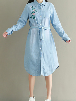 Blue Denim Loose Lapel Embroidery Band Belt Buttons Rolled Long Sleeve Dress for Casual