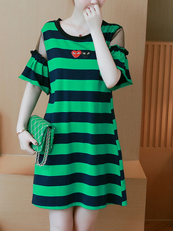 Blue and Green Plus Size Loose Stripe Round Neck Linking Flare Sleeve Above Knee Dress for Casual Party