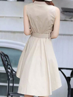 Beige Slim Plus Size Lapel Asymmetrical Hem Above Knee Dress for Cocktail Party Evening