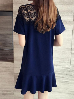Blue Plus Size Loose Round Neck Cutout Shoulder Ruffled Above Knee Dress for Casual Party