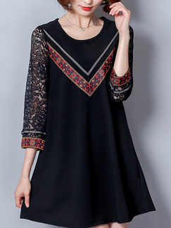 Black A-Line Plus Size Loose Linking Lace Round Neck Located Printing Above Knee Dress for Casual Party