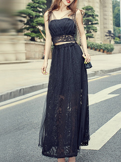 Black Two-Piece Slim Mesh V Neck Linking Lace Adjustable Waist See-Through Full Skirt Dress for Cocktail Party Evening