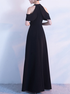 Black Slim A-Line Hang Neck Off-Shoulder Full Skirt Zipper Back Dress for Cocktail Party Evening Prom