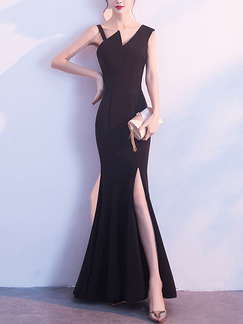 Black Slim Over-Hip Fishtail Furcal Zipper Back Dress for Cocktail Party Evening Prom