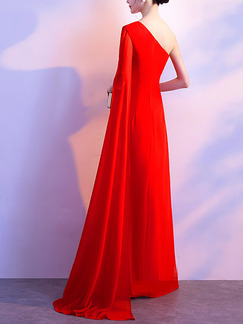 Red Slim One Shoulder Long Mesh Sleeve Dress for Cocktail Party Evening Prom