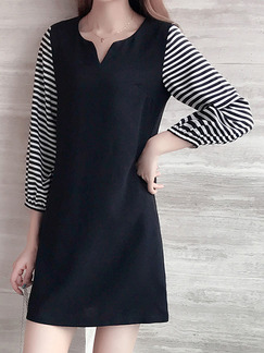 Black and White Plus Size Loose Linking Stripe Sleeve Adjustable Cuff Round Neck Above Knee Dress for Casual Office Party Evening
