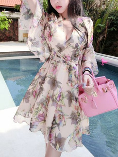 Beige Colorful A-Line Printed V Neck Flare Sleeve Band Belt Floral Dress for Casual Party Evening