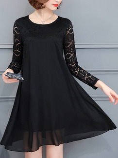 Black Plus Size Loose A-Line Linking Lace Round Neck Long Sleeve Above Knee Dress for Casual Office Party Evening