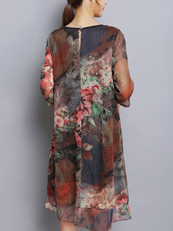 Colorful Plus Size Loose Printed Round Neck Chinese Buttons Dress for Casual Party Evening