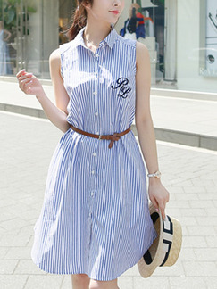 Blue and White Slim Stripe Polo Collar Buttons Asymmetrical Hem Located Printing Dress for Casual Party Office