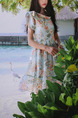 White Colorful Slim A-Line Printed Scarf Collar Band Butterfly Knot  Dress for Casual Party Beach