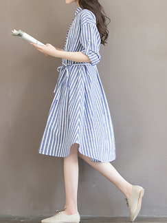 Blue and White A-Line Plus Size Loose Stripe Lapel Band Belt Buttons Rolled Dress for Casual Party