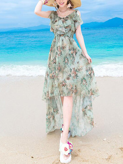 Colorful Slim Printed Asymmetrical Hem Adjustable Waist Ruffled Dress for Casual Beach