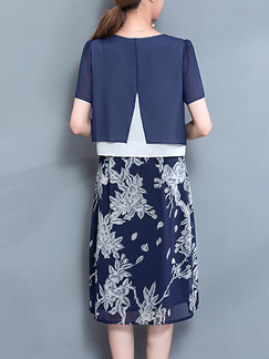 Blue and White Plus Size Seem-Two Contrast Linking Round Neck Furcal Back Printed Dress for Casual Office