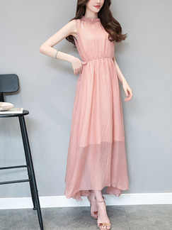 Pink Slim A-Line Laced Collar High Adjustable Waist Cutout Band Belt Back Dress for Casual Party