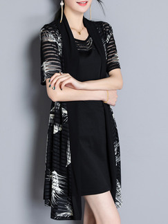 Black Plus Size Loose Cardigan Two-Piece Round Neck Printed Dress for Casual Party