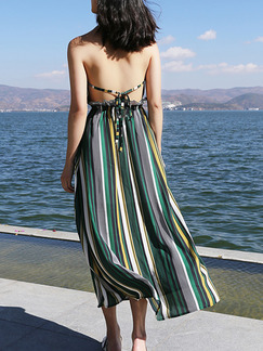 Green Colorful Slim Stripe Sling Open Back Band Belt Back Laced Adjustable Waist Dress for Casual Party Beach