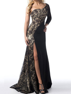 Black Plus Size Slim One Shoulder Linking Lace Furcal Over-Hip  Dress for Cocktail Party Evening Prom